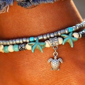 Jewelry - NEW Beach Turquoise & Silver TURTLE ANKLET